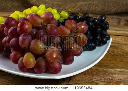 Bunch Of White Red And Dark Grapes