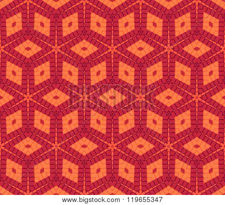 Modern Rhombus Seamless Pattern In Red And Orange Colors