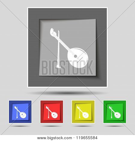 Balalaika Icon Sign On Original Five Colored Buttons.