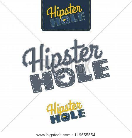Hipster Hole - Joke Banner, Vector Illustration