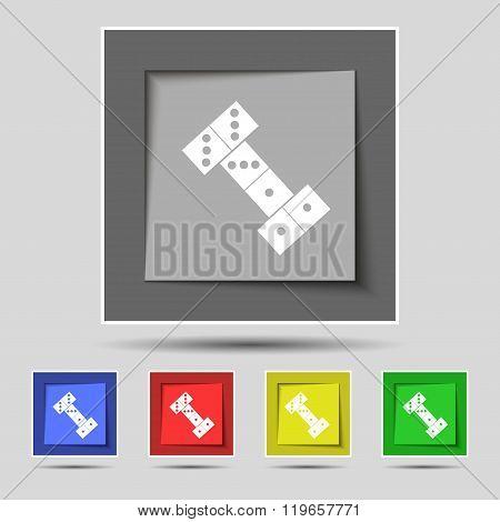 Domino Icon Sign On Original Five Colored