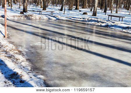 Frozen Sport Ground In Urban Park