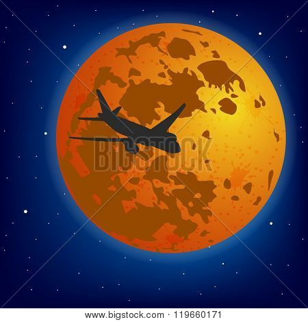 The plane on a background of the moon. Vector.