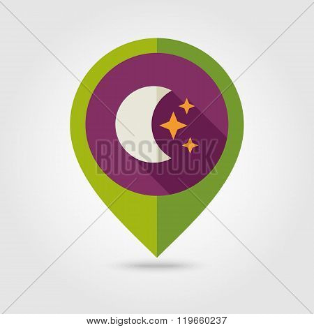 Moon and stars flat pin map icon. Weather