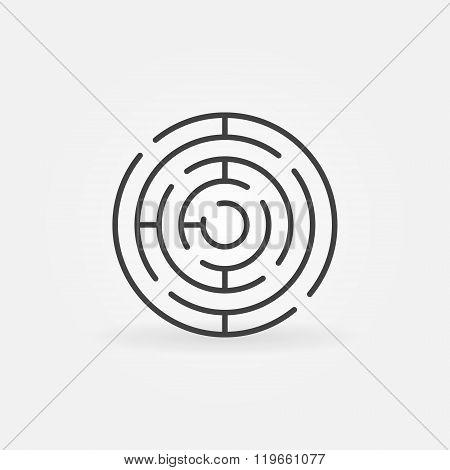 Round maze line icon