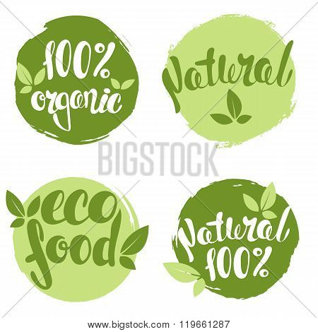 Set of bubbles, stickers, labels, tags with text. 100% natural product, 100% organic, eco food.