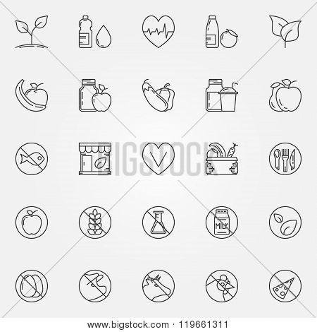 Vegetarian line icons set