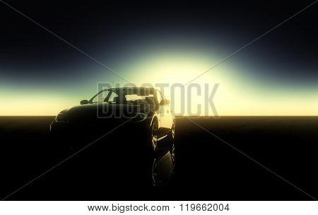 sports car with sun rays