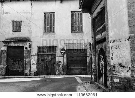 Scenic Alleys In The Old Nicosia City Centre-b&w.