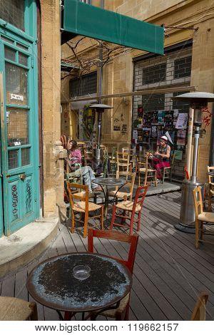 Street Cafe In Phaneromeni Square- Old Nicosia City Centre.