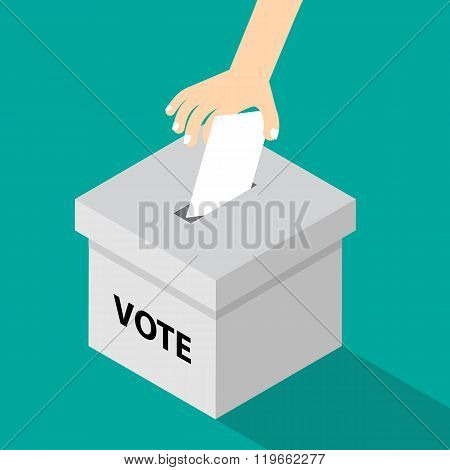 Voting Illustration Flat Style - Hand Putting Voting Paper In The Ballot Box