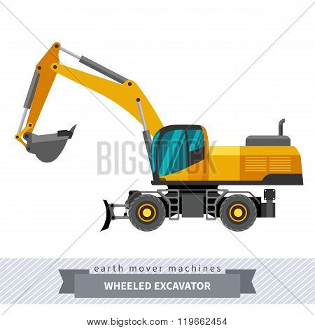 Wheeled Excavator For Earthwork Operations