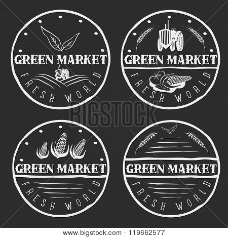 Set Of Vintage Labels Of Green Market With Tractor And Vegetables