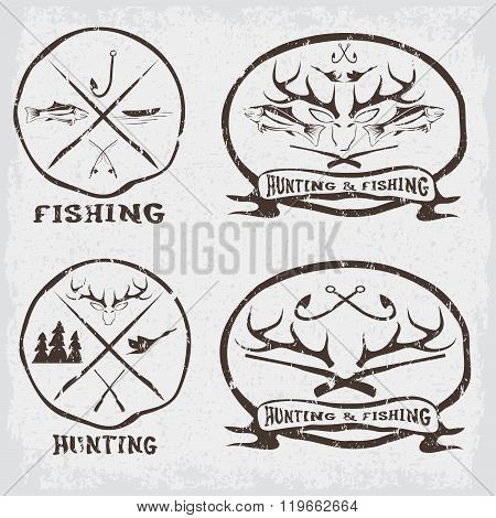 Hunting And Fishing Vintage Emblems Set . Concept Of Graphic Clipart Work