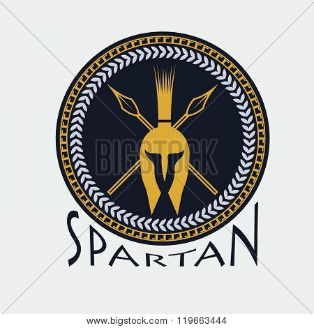 Spartan Helmet With Spears And Shield . Concept Of Graphic Clipart Work