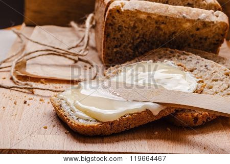 Still Life Fresh Bread With Butter And Honey