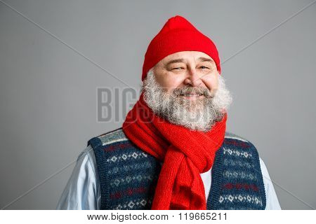 Happy Old Man with Beard in Winter Clothes