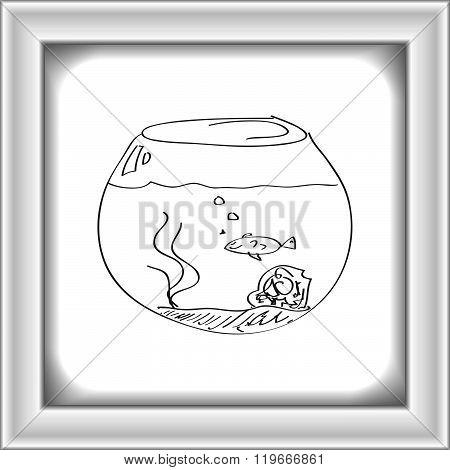 Simple Doodle Of A Goldfish Bowl