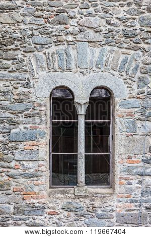 Romanesque Window In Old Castle