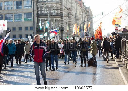 People on the March in memory of Nemtsov