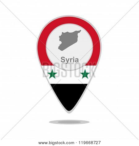 A pointer with map and flag of Syria