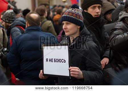 Protester at the March in memory of Nemtsov