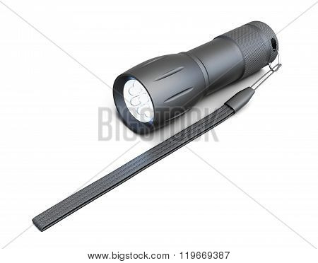Pocket flashlight isolated on white background. 3d rendering