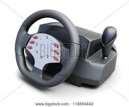 Game steering wheel isolated on white background. 3d rendering