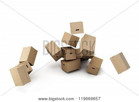 Pile of cardboard boxes, conceptual image on a white background.