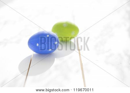Two  Easter Eggs On Wooden Background