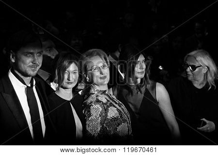 Lars Eidinger, Alba Rohrwacher, Meryl Streep and Malgorzata Szumowska attend the 'Hail, Caesar!' Premiere during the 66th Berlinale International Film Festival on February 11, 2016 in Berlin, Germany.