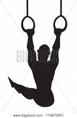 Silhouette vector illustration. Gymnastics rings. Cartoon style athlete.