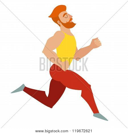 Running. Bearded man with a mustache muscles running. Isolated vector illustration