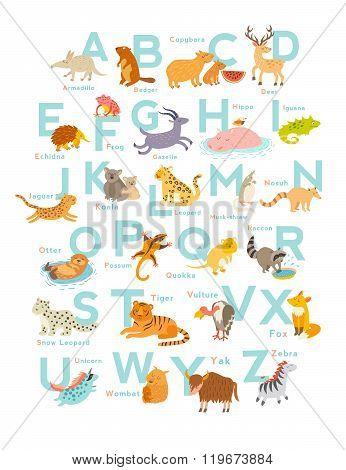 Cute vector zoo alphabet. Funny cartoon animals
