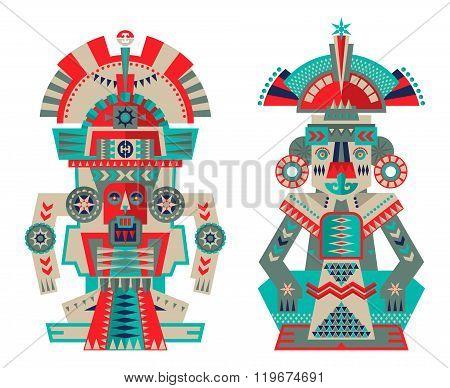 Aztec And Maya Ceremonial Sculptures.