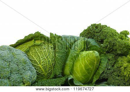 Fresh Green Organic Market Vegetables On White Background