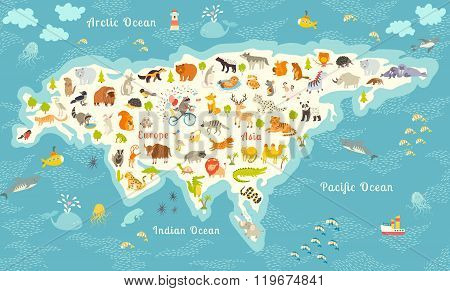 The most detailed animals world map Eurasia