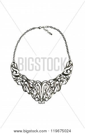 A Metallic Necklace Isolated On White