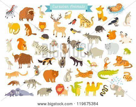 Eurasian animals vector illustration.