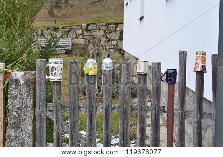 Traditional Wooden Fence Decorated Mugs, South Bohemia