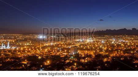 Beautiful Cityscape Of Night Russian City Saratov