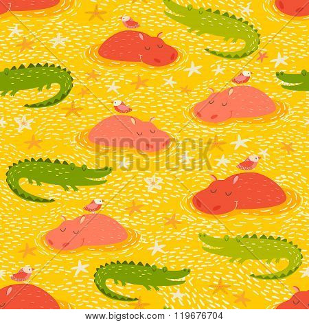 Cute african animals seamless pattern