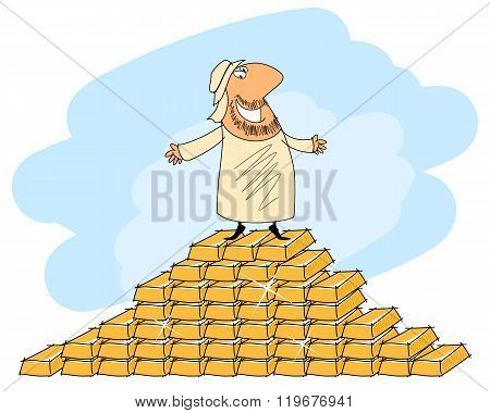 Arab Man And Gold Ingots