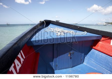 The Wooden Bow Of A Water Taxi