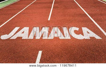 Jamaica written on running track