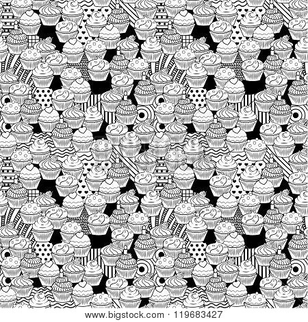 Seamless cute black and white cupcake doodle pattern. It includes yummy deserts with icing, cherry,