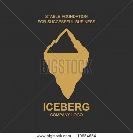 Iceberg illustration for company logo design, business symbol concept, minimal line style