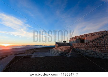 MONTE GRAPPA,ITALY - NOVEMBER 01, 2015: Sunset at the memorial. First world war memorial from