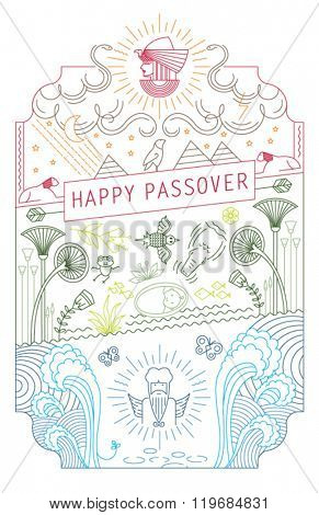 PASSOVER LINE ART CARD. Vector illustration file. Can use as greeting card, poster, cover, wall art, print and more...