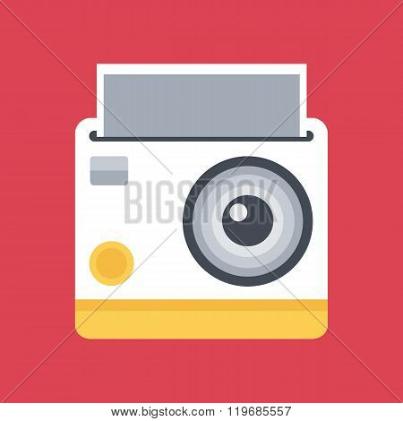 Flat design instant photo camera on red background.